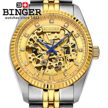 2017 new LOGO men Binger 18k gold watch famous brand sports watches fashion designer dress automatic mechanical wristwatches famous brand binger watches fashion brown leather strap mechanical casual watch gold date men dress wristwatch 200m waterproof