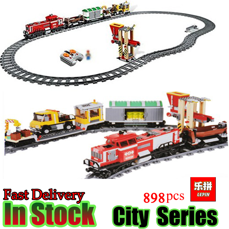 LEPIN 02039 898pcs Creator Technic City Red Cargo Train Building Brick Blocks RC Train Model educational Toys for children Gifts lepin 02009 city engineering remote control rc train model