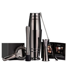 Black Plated Boston Cocktail Shaker Bar Set: 18 oz & 28 oz Boston Shaker Tin, Cocktail Zeef, dubbele Jigger, 12 ''Menglepel,(China)