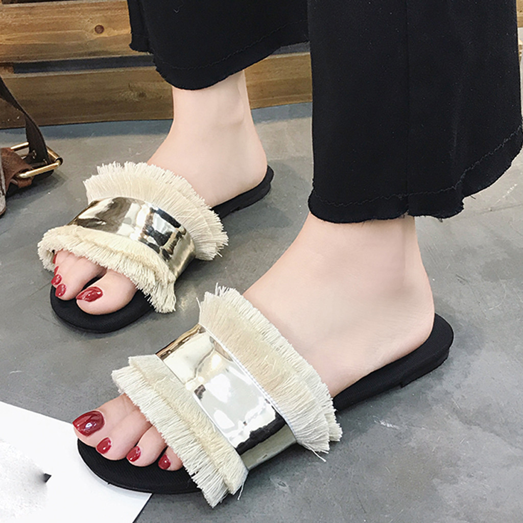 MUQGEW Hot Style Summer Slippers Women Casual Flats Fringe Sandals Slip On Sandals Ladies Shoes Cloth Outdoor Beach SlippersMUQGEW Hot Style Summer Slippers Women Casual Flats Fringe Sandals Slip On Sandals Ladies Shoes Cloth Outdoor Beach Slippers