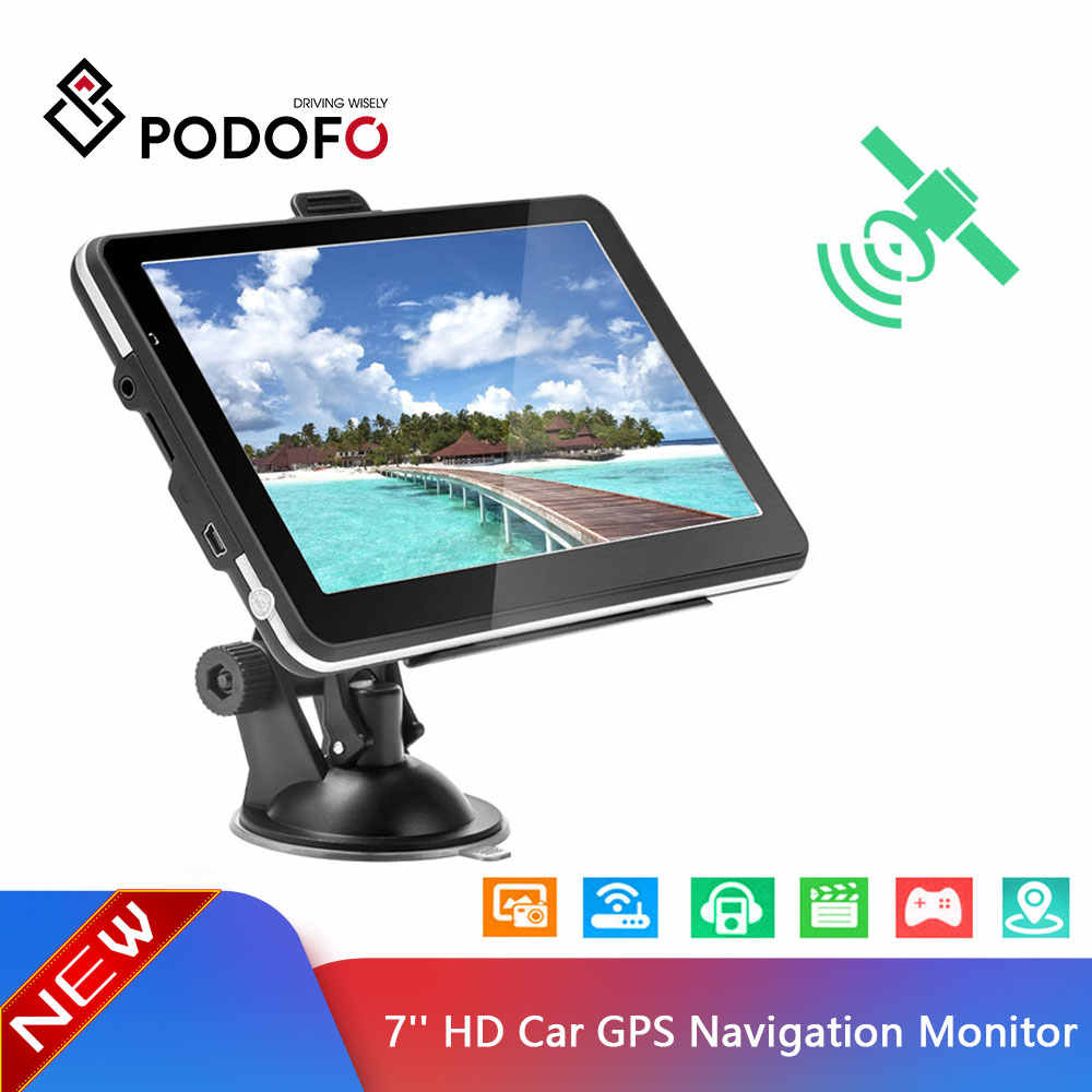 Podofo 7 inch HD Car GPS Navigation Map Free Upgrade Navitel Europe Sat nav Truck gps navigators automobile Vehicle Truck GPS