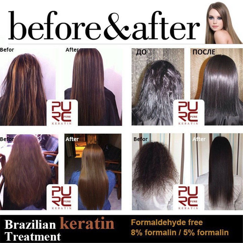 Купить с кэшбэком PURC 1000ml 5% Formalin Brazilian Keratin Hair Straightener  Repair Damaged Hair Moisturizing Anti-split Deep Cleaning Hair Care