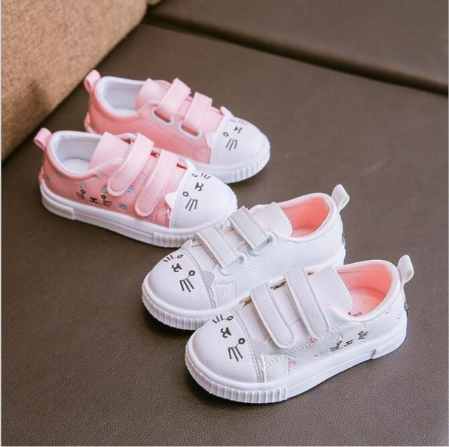 9d89b7cb9 New Hot Girl's Shoes Cartoon Hello Kitty Fashion Design Pink White Princess  Sweet Cute Children Kids Single Shoes