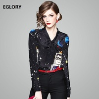 Women New Fashion Silk Blouse Button Ladies Bow Tie Moon Star Prints 100 Real Silk Office