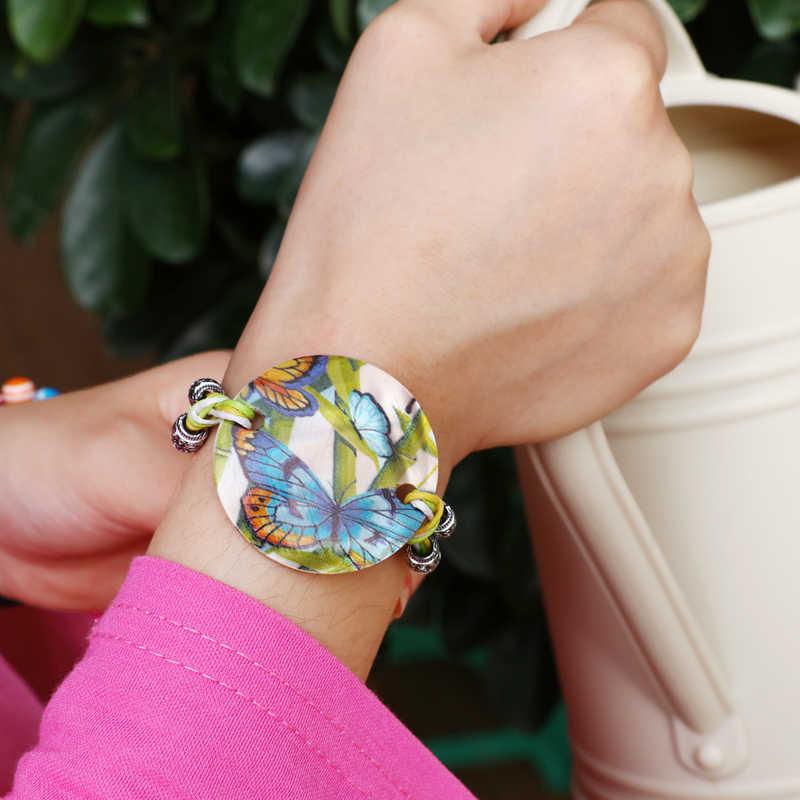 ZOSHI Leather Bracelets for Women Vintage Bracelet Female Jewelry Round Owl Shell Charms Wristband Gift pulseira feminina