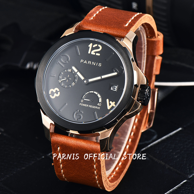 2017 Newly Men's Watch Parnis Mechanical Watch 44mm Power Reserve Automatic Watches Three Styles Luminous Sapphire 5Bar Leather 2017 new arrivals mechanical watch parnis 44mm 5bar luminous brown leather rose gold mens automatic watch reloj hombre