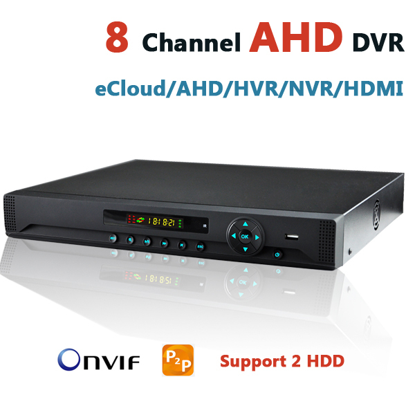 CCTV AHD DVR 8CH New Design Support 2 HDD 8 Channel Audio Alarm Input HVR NVR