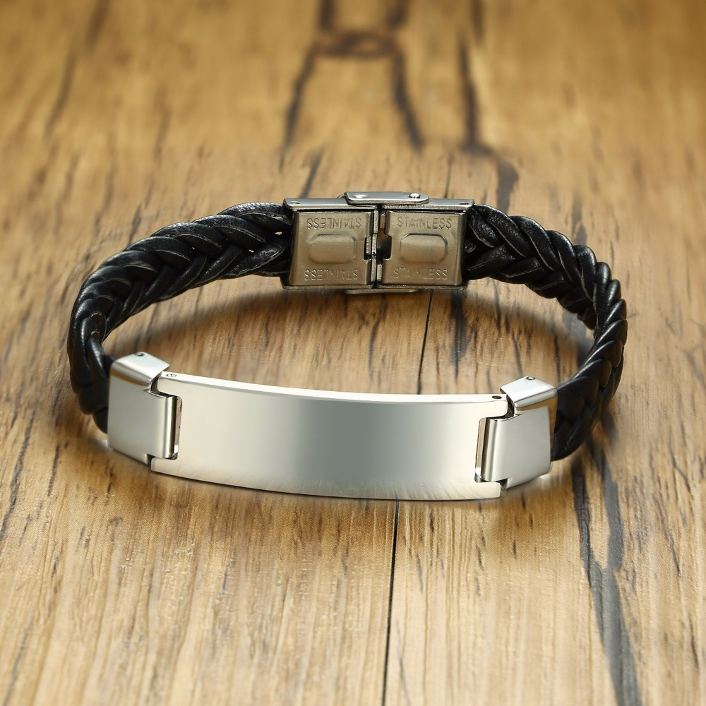 Mens Black Braided Soft Leather Bracelet with Stainless Steel Tag Braslet Bangle for Male Jewelry Pulseras bileklik 8.2