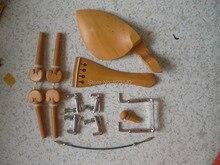 2 Sätze Buchsbaum Violine passend 4/4 mit Silber farbe Fine tuner, schwanz gut und Silber kinnstütze schraube