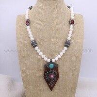 Comercio al por mayor de piedra blanca Natural collar de bolas y tallar la madera flecha colgante collar hecho a mano collar druzy joyas joyería 1835