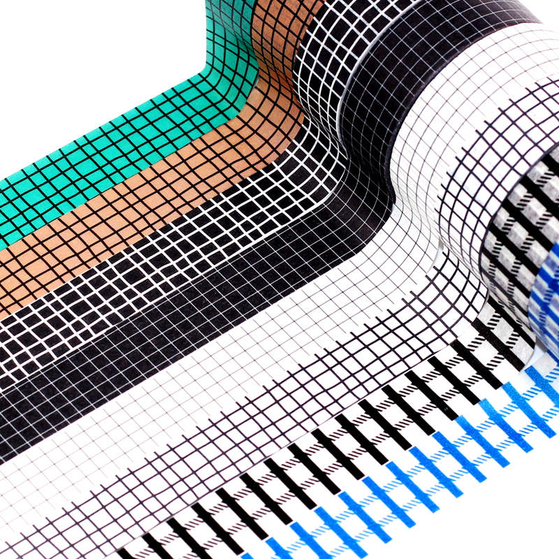 10M Black White Blue Grid Washi Tape Set Japanese Paper DIY Planner Masking Tape Adhesive Tapes Stickers Decorative Stationery