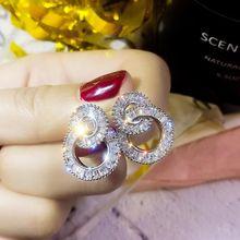 Luxury Geometric Drop Earrings Fashion Silver 925 Sterling Wedding Earrings Jewelry Statement Earrings For Women Gift