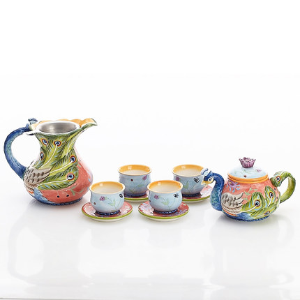 2018 Ceramic flower and tea set peacock coffee pot coffee cup spoon dish  teapot tea cup with filter