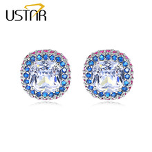 USTAR Square Cubic Zirconia Stud Earring for Women Colorful crystals Fashion Jewelry wedding Earrings female Ear brincos gifts