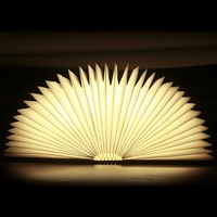 Novelty LED Wood Cover Book Light Table Lamp Bedside Open Close USB Charge Nightlight