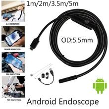 "5 m 3.5 m 2 m 1 m מיקרו USB אנדרואיד אנדוסקופ מצלמה 5.5 מ""מ לן נחש צנרת פיקוח עמיד למים אנדוסקופ USB OTG אנדרואיד"