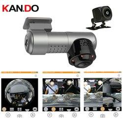 360 ° + 170 ° câmera dupla do carro dvr do carro da lente monitor de estacionamento 360 graus câmera panorâmica do carro dvr 360 ° para a câmera 2160p do traço do táxi