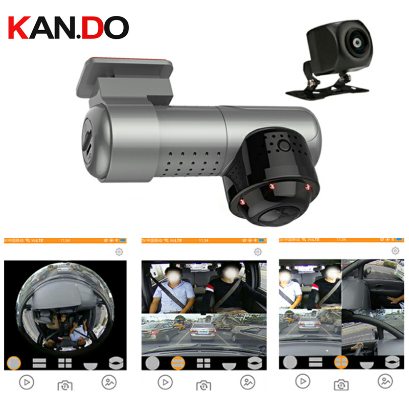 360°+170° Dual Lens CAR DVR Camera Parking Monitor 360 Degree Car Camera Panoramic Car DVR 360° For Taxi Dash Camera 2160p