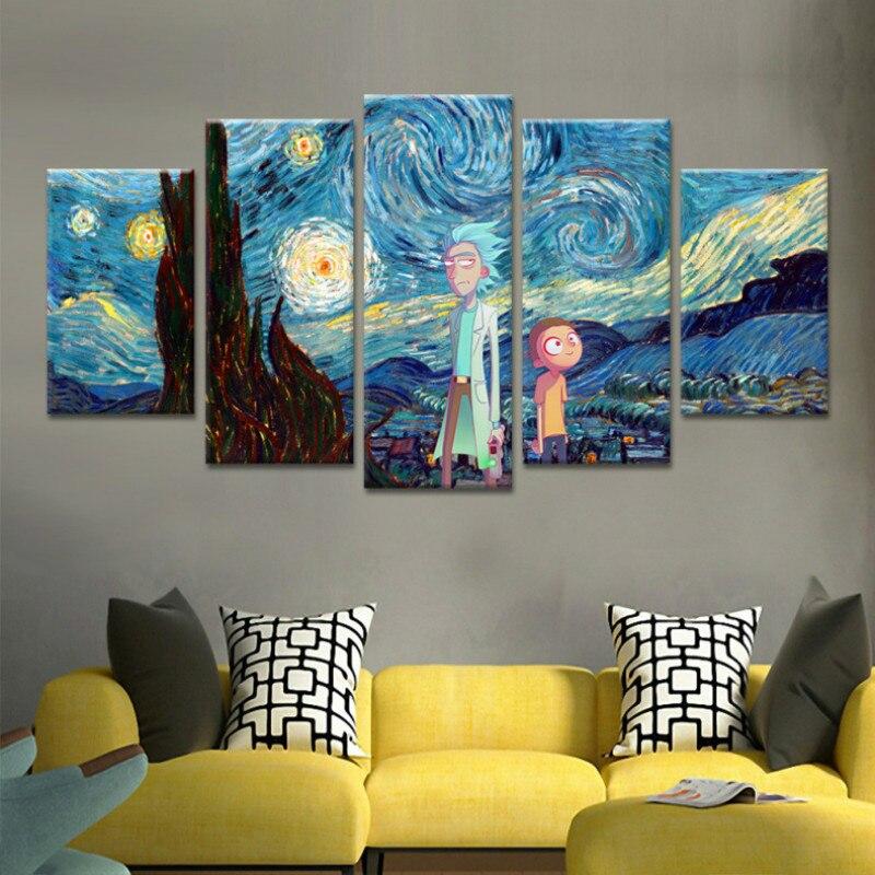 בד קיר אמנות מודולרי תמונות 5 פנלים ריק ו Morty פוסטר בית תפאורה אנימציה פוסטרים אין מסגרת סלון HD מודפס