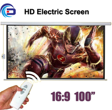 Wholesale 100″ 16:9 HD Electric Projection Screen with Remote Controller Motorized Projector Pantalla proyector Screen