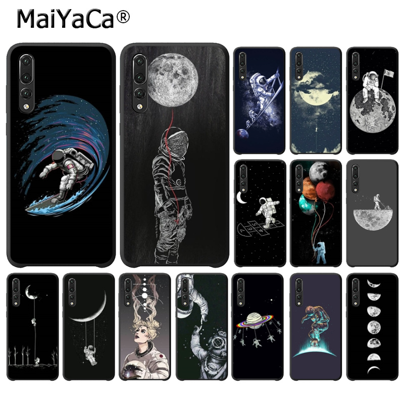 Maiyaca Space Love Moon Astronaut Diy Luxury Protector Case For Huawei Mate10 Lite P20 Pro P9 P10 Plus View 10 P20 Lite Cover Can Be Repeatedly Remolded. Phone Bags & Cases Half-wrapped Case