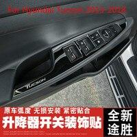 Car Glass Lift Switch Panel Sequins Inner Armrest Armrest Decorative Frame For Hyundai Tucson 2015 2016 2017 2018 Car styling
