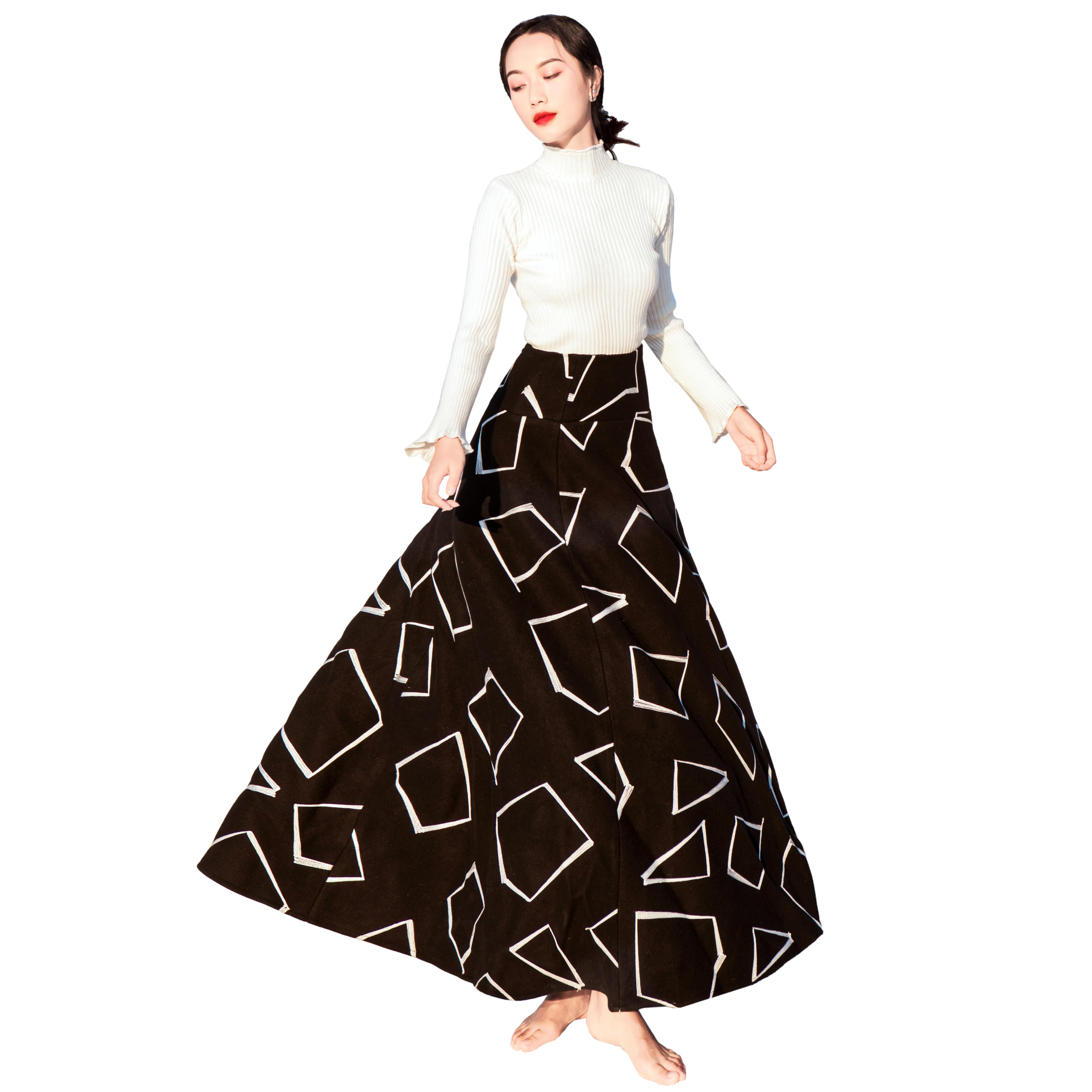 YOSIMI 2018 зимнее женское платье для женщин комплект из двух предметов пуловер с длинными рукавами Блузка + шерстяная юбка костюм комплект из 2 п... - 5
