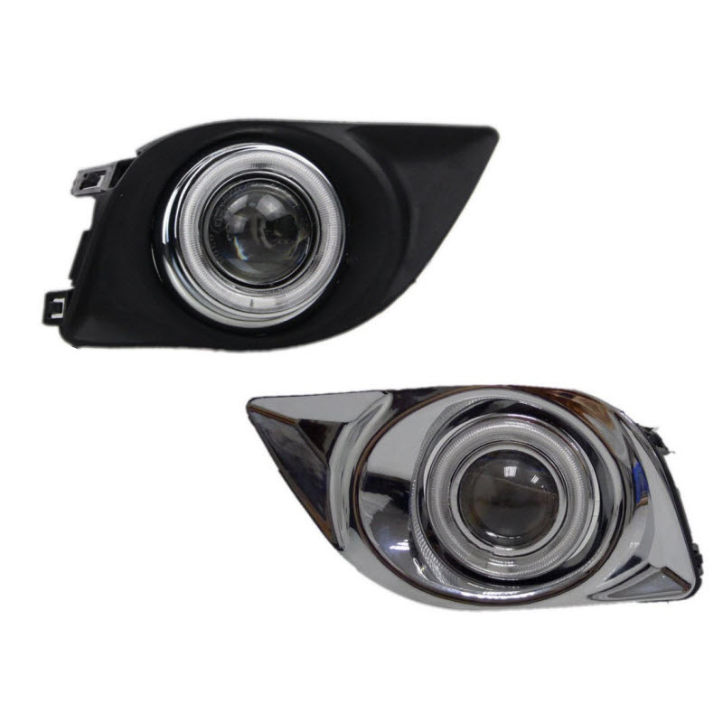 For Nissan Versa Sunny N17 3-in-1 Led Angel Eyes DRL Yellow Signal Light H11 Halogen / Xenon E13 Fog Lights Projector Lens