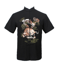 Free Shipping!!! Chinese Tradition Style Men's Black Dragon Pattern Kung Fu Short Sleeve Shirts M-L-XL-XXL-3XL LD36