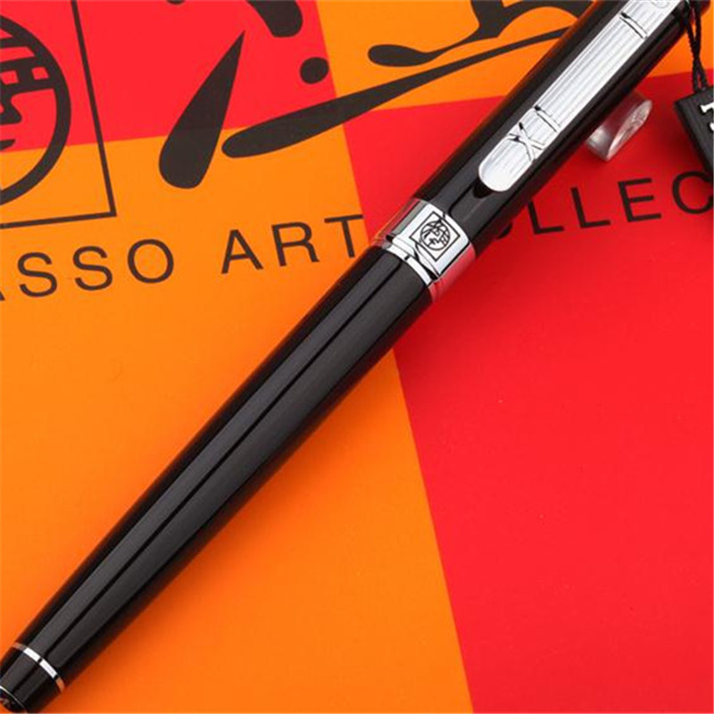 1pc/lot Picasso 902 Fountain Pen Pimio Picasso Ball Pens Black Pen Silver Clip Luxury School Supplies Stationery 13.6*1.3cm set 3 of fountain pen roller ball and ballpoint pens black baoer 3035 signature pens wholesale 3pens lot free shipping