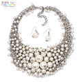HOT SALE good quality trendy Fashion bib collar choker simulated pearl necklace maxi Necklace