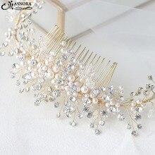 ASNORA Mode Gold Braut Haar Kämme mit Perlen Kristalle Hochzeit Haar Zubehör Kopfschmuck Bräute Stirnband für Frauen