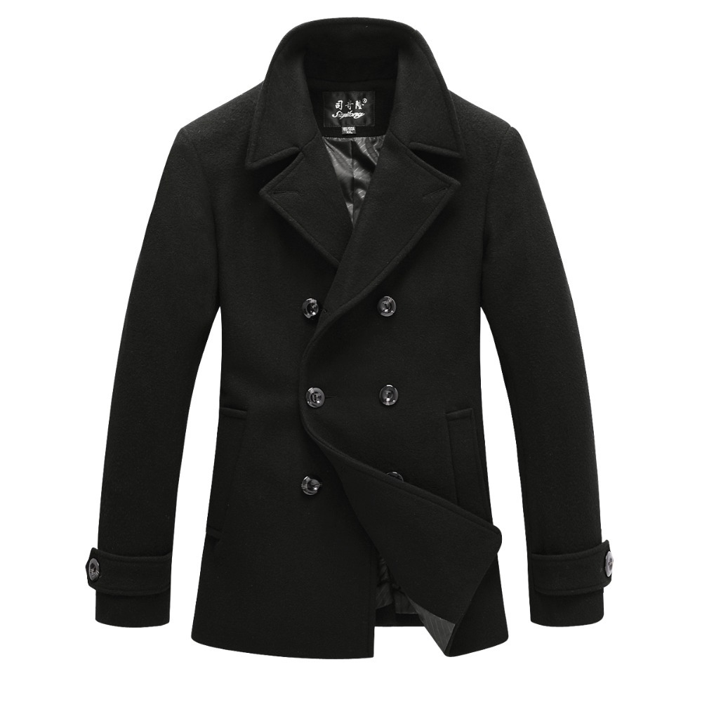 New Mens Peacoat Winter Jackets For Men Trench Coat Wool ...