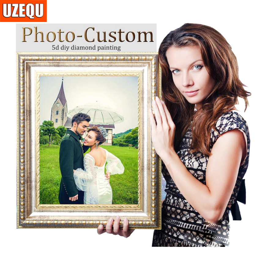 UzeQu Personal Photo Custom Diamond Mosaic 5D DIY Painting Cross Stitch 3D Embroidery Full Round Rhinestones Art