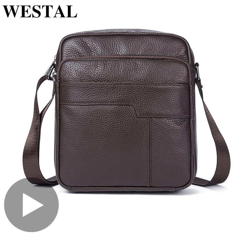 Westal Genuine Leather Office Shoulder Messenger Women Men Bag Briefcase For Male Female Work Business Small Portable Handbag