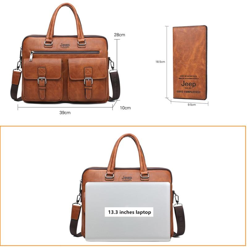 JEEP BULUO Famous Brand 2pcs Set Men's Briefcase Bags Hanbags For Men Business Fashion Messenger Bag 13.3' Laptop Bag 8001/8888
