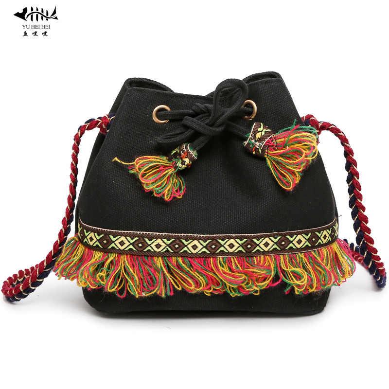 New Vintage Bohemian Bucket Bag Hippie Fringe Tassel Messenger Hipster Bag  Women Shoulder Crossbody Bags free 8bb4ea981c36