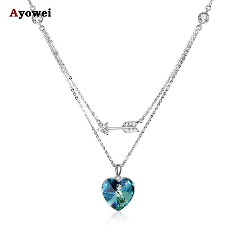 Ayowei tendance nouveau 925 argent sterling couleur zircon pendentif collier cadeau de fête SP74