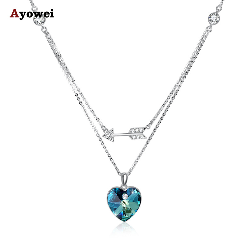 Ayowei trend new 925 sterling silver color zircon pendant necklace party gift SP74 rolilason minimalist design 925 sterling silver pink heart shaped zircon pendant necklace party gift sp75