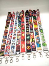 Hot Sale! 10 pcs /20 pcs/30pcs cartoon Superhero  Avengers Lanyard Neck Strap Card Bus ID Holders With Key Chain