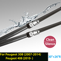 "Wiper blades for Peugeit 408 (2010- ) and 308 (Hatchback/ SW Estate/ CC) 30""+26""R fit push button type wiper arms only HY-011"