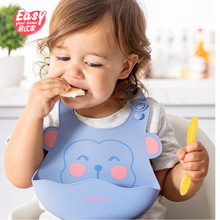 Baby Bibs Waterproof Silicone Feeding Kids Adjustable Cartoon Aprons Saliva Bandana