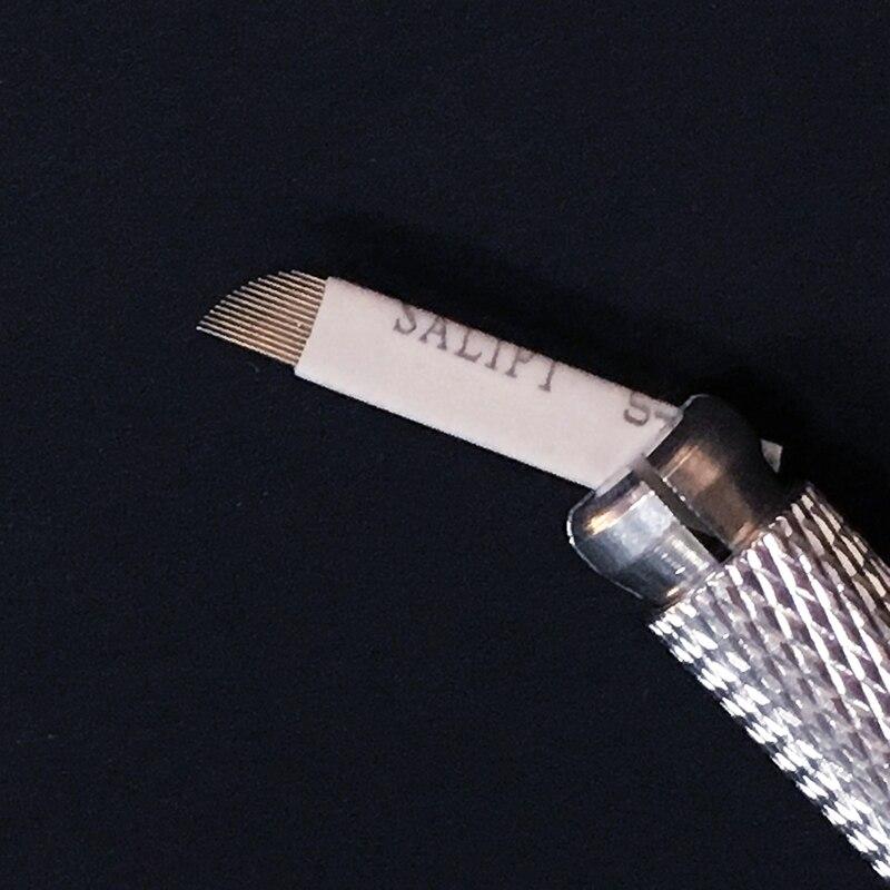 100 stücke Professionelle Permanent Make-Up Klinge Augenbraue Tattoo Klinge Flex 14 Nadeln Mit 1 pc augenbraue manuelle stift Kostenloser Versand