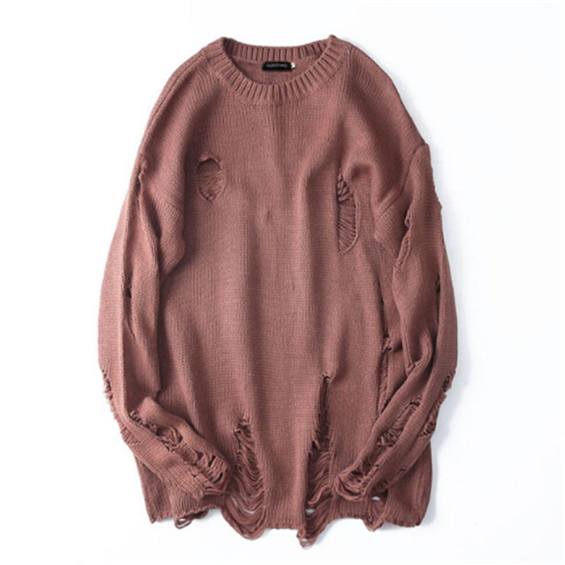 The original design of the 2017 Harajuku Street long paragraph sweater hole size loose knit sweater and winter