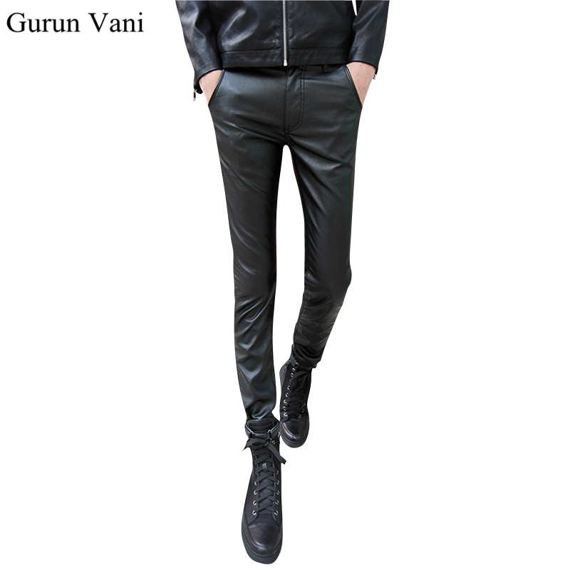 2017 New Arrive Men's Skinny Leather Pants Casual Fashion Solid Color Cool Jeans Size:28-33 Free Shipping 6998