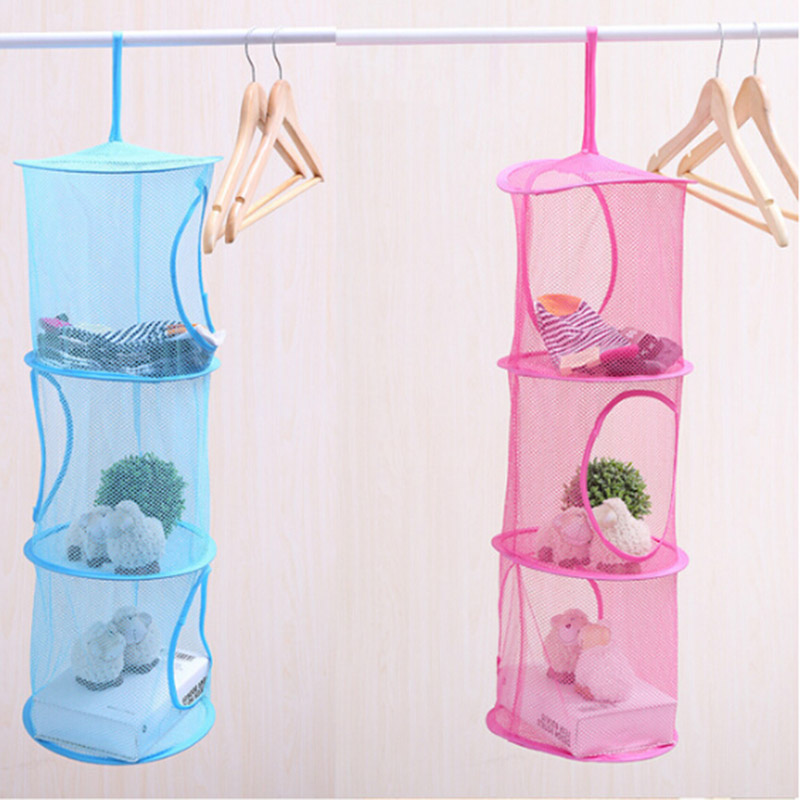 3 Shelf Hanging Storage Net Make Up Organizer Bag Bedroom Door Wall Closet Makeup Box Organizers Free Shipping