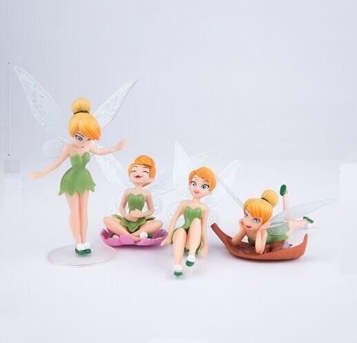 4 sztuk/partia wysokiej jakości pcv Tinkerbell Fairy urocze dzwoneczek figurki zabawki lalki 8CM