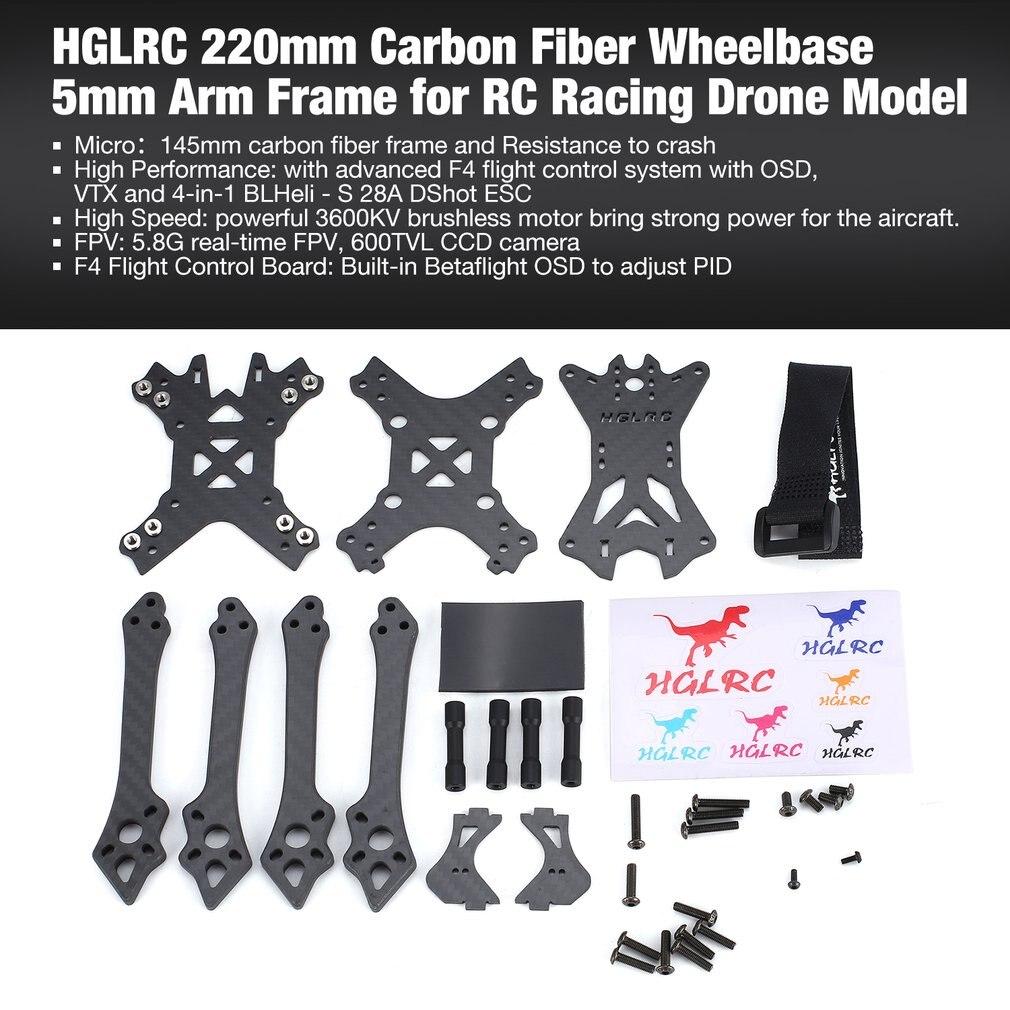 HGLRC 220mm En Fiber De Carbone Empattement 5mm Bras Kit Cadre pour RC Racing Drone Moteur Modèles Multicopter Pièces De Rechange accessoires