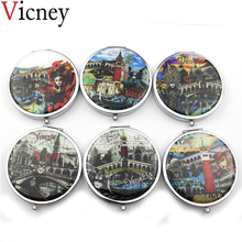 Vicney New arrival Make Up Mirror Pocket Small Round Cute Double Size Folding For women Girls