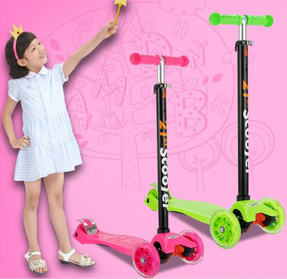 Adjustable height Portable Kids' Foot Scooters Flash Kick Scooter for Children folding kick scooters foot scooters children best birthday gift with flash pu wheels free shipping